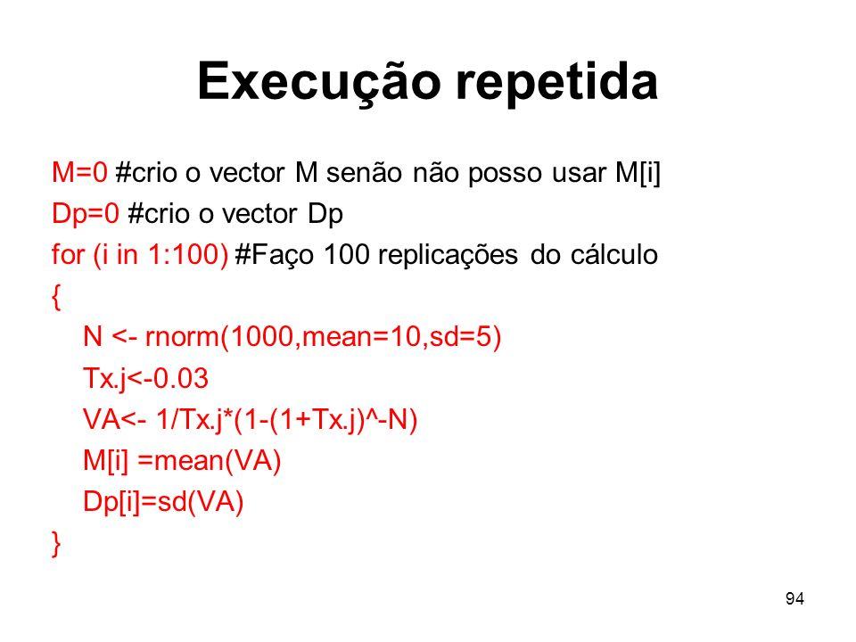 Execução repetida M=0 #crio o vector M senão não posso usar M[i]